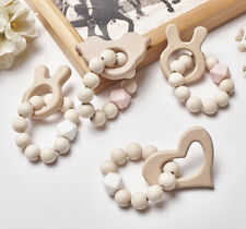 Elephant Teether Round Wooden Beads Chewable Hexagon Silicone Baby Rattles Toys