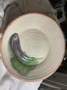 "Williams Sonoma Jardin Potager Pasta/Soup Bowl Eggplant  Italy 9 7/8"""