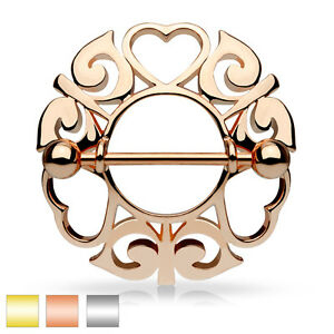 Tribal Heart Rhodium / Gold Plated Nipple Shield - Surgical Steel Barbell