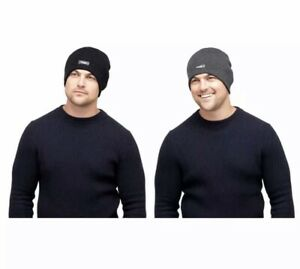 Mens Thinsulate Heatguard 3M Thermal Beanie / Ribbed Hat -One Size -Black & Grey