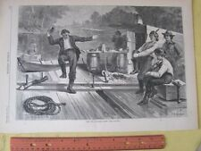 Vintage Print,LIFE ON LUMBER RAFT#2,Harpers,Oct.1873,Canal