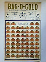 Vintage 1940s Bag O Gold 5 Cent Play Jackpot Punch Board Gambling Unused NOS