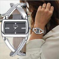 Women's Wrist Watch Round Cuff Bangle Ladies Silver Stainless Steel Quartz