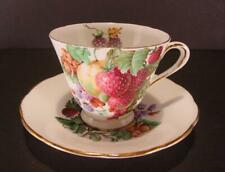 TUSCAN TEACUP & SAUCER FRUIT BERRIES GOLD TRIM CUP BONE CHINA ENGLAND