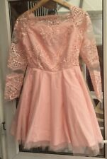 Bicotone Size 10 Peach  Long Sleeved Lace Detail Netted  Dress.              b