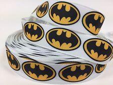 "BTY 7/8"" White Batman Grosgrain Ribbon Hair Bows Scrapbooking Lanyards Lisa"