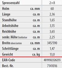 Hymer Holz-sprossenstehleiter beidseitig begehbar 2x8 7141016