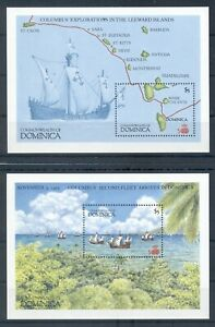 DOMINICA *1987 * compl.set 2 S/Sheets * MNH** Discovery of America - Mi.BL121-2