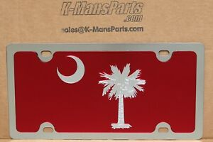 South Carolina Flag maroon palmetto moon stainless steel license plate tag