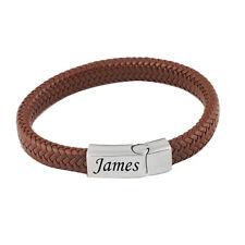 Brown Leather & Stainless Steel Mens Personalised Bracelet Engraved Gift
