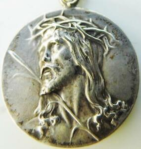 Antique Silver Holy Medal Passion of Jesus Christ Crown of Thorns Ecco Homo Mont