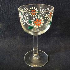 Verre à liqueur H ± 8,1 en verre translucide émaillé décor floral anony XIX ème