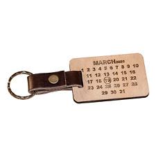 Personalised Date Calendar Key Ring Wood Leather Key Chain Fob Wedding Gift