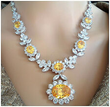 18K WHITE GOLD F NECKLACE EARRING SET YELLOW CITRIN ,BRIDAL,COCKTAIL PARTY
