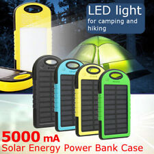 5000mAh 4Colors Solar Power Bank Dual  USB Waterproof Portable Charger DIY Case