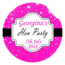 24 Personalised Hen Do Party Night Weekend Stickers Label Sparkly Hot Pink Gloss