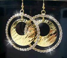 Ohrringe Creolen 5cm Anhänger rund Gold plattiert Strass klar Schmuck O1818*