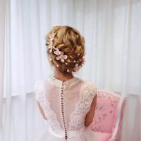 Wedding Bridal Pink Handmade Silk Flower Pearl Garland Hair Band Tiara Headband