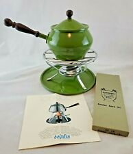 VTG Japanese Imperial Avocado Green Fondue Pot Burner with Warmer and Tray