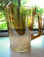 Vintage Carnival Glass Pitcher Jeanette Depression Golden Marigold 9 Inches Tall