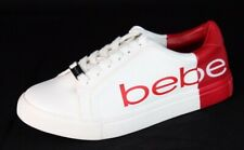 Bebe Charley womens low top lace up fashion sneakers white red size 11