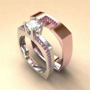Luxury 2Pcs/Set Women Rose Gold Color Wedding Crystal Ring Set Jewelry Size 9