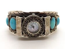 RARE VINTAGE LADIES STERLING & TURQUOISE  CUFF BRACELET/WRIST WATCH - SIGNED!!!!