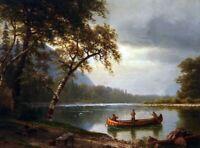 Albert Bierstadt Salmon Fishing Fine Art Print on Canvas Painting Giclee Small