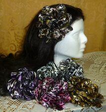 "3.5"" Animal Shiny Satin Flower Hair Clip Barrette Lapel Pin Brooch Brown Black."