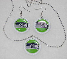 New handmade Seattle Seahawks matching bottle cap earrings and necklace 12th man