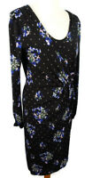 M&S Size 10 Black Blue V Neck Wrap Dress Floral Print Long Sleeve Winter