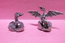 Pair Of Pewter Hatching Dragon Eggs