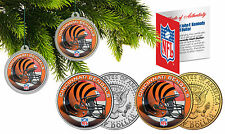 CINCINNATI BENGALS Christmas Tree Ornaments JFK Half Dollar US 2-Coin Set NFL