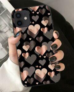 MOBILE PHONE CASE IPHONE 7/8/11/12/PRO/SE/XS/X/XR/PLUS/MAX/MINI PINK/BLACK HEART