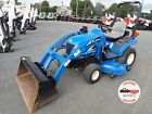 NEW HOLLAND TZ25DA TRACTOR W/ LOADER & BELLY MOWER, 610 HRS, 4X4, HYDRO, 1 OWNER