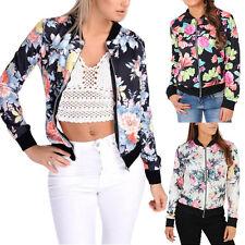 Flower Floral Print Ladies Girl Womens Bomber Jacket Zip Up Biker Camo Outerwear