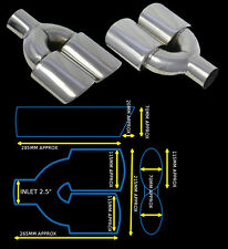 UNIVERSAL STAINLESS STEEL EXHAUST TAILPIPE DUAL TWIN YFX-0351-SP  HYN1`
