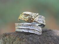 Mens Ladies Adjustable Sterling silver Eagle Feather ring Gift for him or her