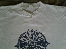 T-Shirt Gr 36 38 natur Baumwolle Kurzarm sehr gut blau weiß