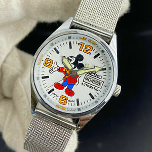 Vintage Seiko 5 Mickey Mouse Automatic 17 Jewels Day-Date Men's Wrist Watch