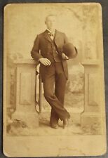 Antique Cabinet Card Photo Young Man with Bowler Hat Covington Ohio WM Townsend