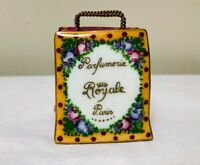 Beautiful Limoges France Hand Painted Paris Royale Shopping Bag Trinket Box