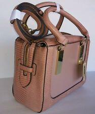 Anne Klein  Raisin Bar It All Satchel Handbag Faux Leather Detach  strap NWT $89