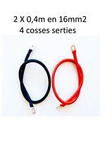 Paire câbles souple raccordement batterie 2X40 cm 16mm2 avec 4 cosses serties