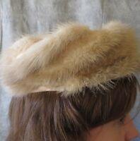 "Vintage 50s PATRICE Blonde Luxe Mink Fur Swirl Trim Pillbox Beret Fancy Hat 21"""