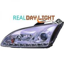 LHD Projector LED DRL Headlights Pair Clear Chrome For Ford Focus II 04-07