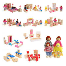 More details for kid's children wooden furniture dolls family house miniature 6 room set doll toy