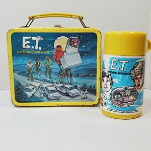 1982 E.T. The Extra Terrestrial Metal Lunch Box w/ Original Thermos