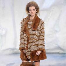 Authentic CHANEL $9,800 Tweed Fantasy Fur Jacket Coat - Size 46