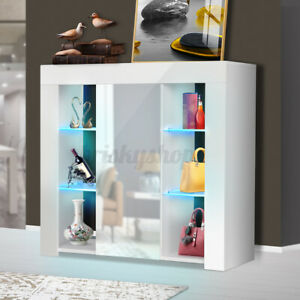 High Gloss LED Cabinet Sideboard Cupboard TV Stand Uint w/ 1 Door Large Storage